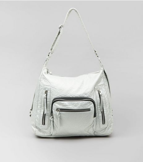 Silver Metallic Oversized Bag | New Look
