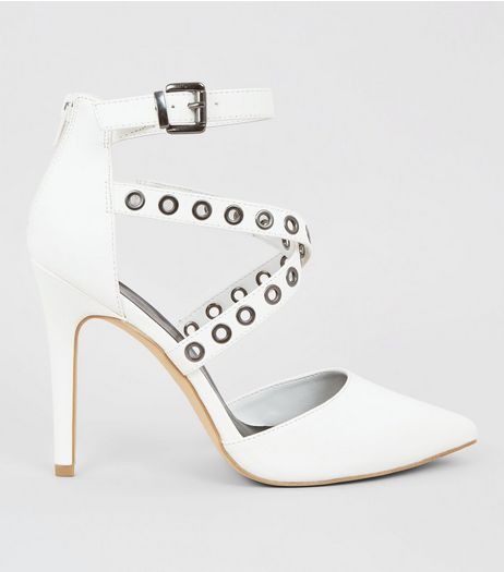White Eyelet Cross Strap Pointed Heels  | New Look