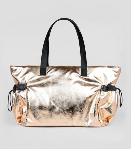 Rose Gold Drawstring Oversized Tote Bag | New Look