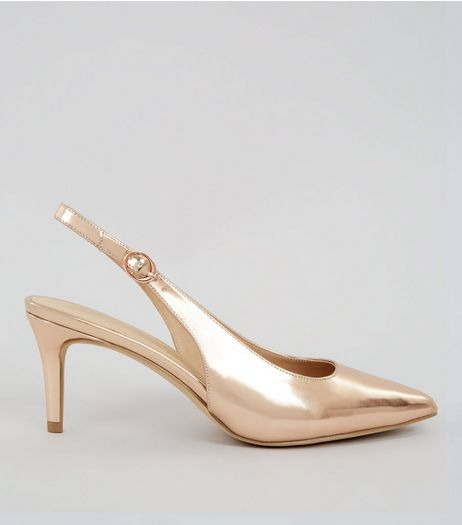 Rose Gold Metallic Sling Back Heels | New Look