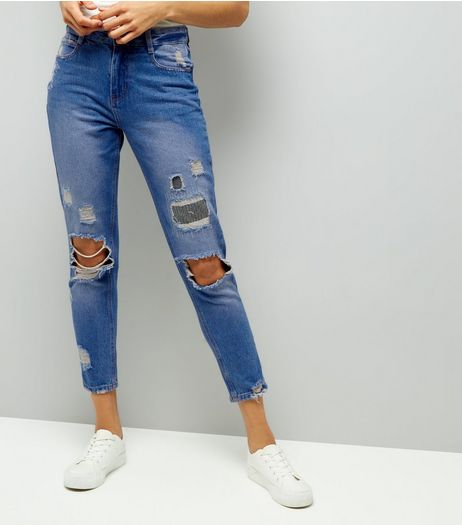 Urban Bliss Blue Ripped Boyfriend Jeans  | New Look