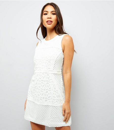 Urban Bliss White Floral Lace Dress | New Look