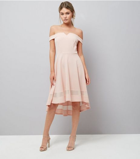 Shell Pink Bardot Neck Mesh Hem Dress | New Look