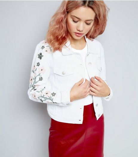 Urban Bliss White Floral Embroidered Denim Jacket | New Look