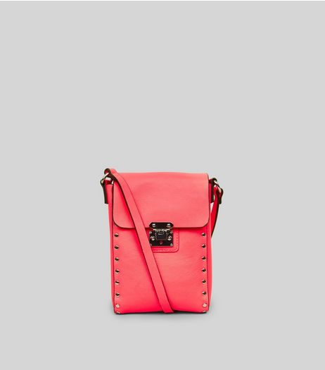 Neon Pink Studded Cross Body Bag | New Look