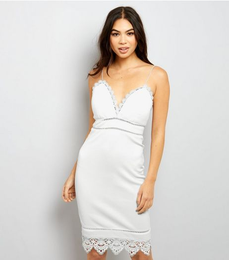 White Lace Trim Strappy Bodycon Dress  | New Look