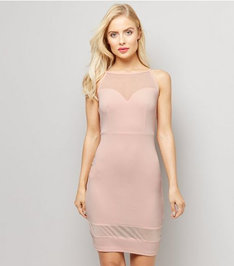 Shell Pink Mesh Panel Bodycon Mini Dress | New Look