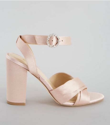Nude Pink Satin Chunky Cross Strap Block Heels | New Look