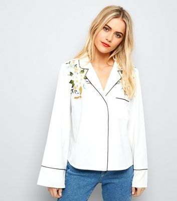 White Floral Embroidered Piped Trim Shirt