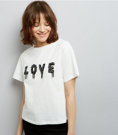 Cream Love Embellished T-Shirt | New Look