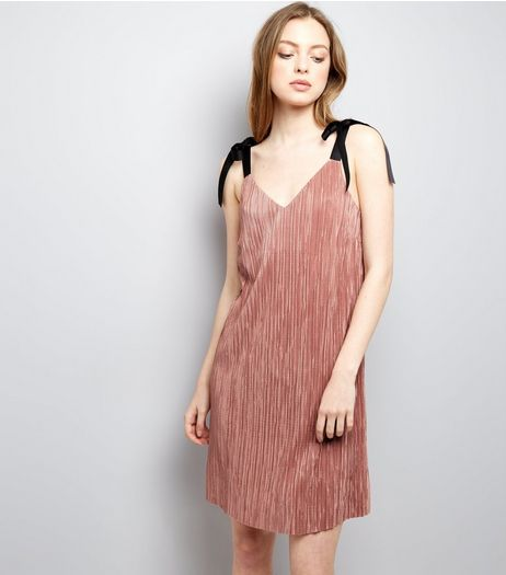 Shell Pink Tie Strap Pleated Slip Dress  | New Look