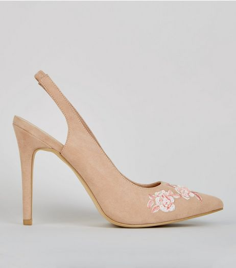 Wide Fit Nude Pink Floral Embroidered Sling Back Heels | New Look