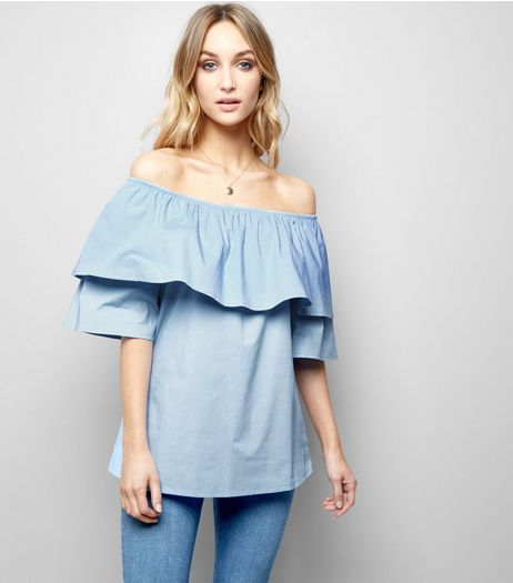 Loving This Blue Bardot Neck Top | New Look