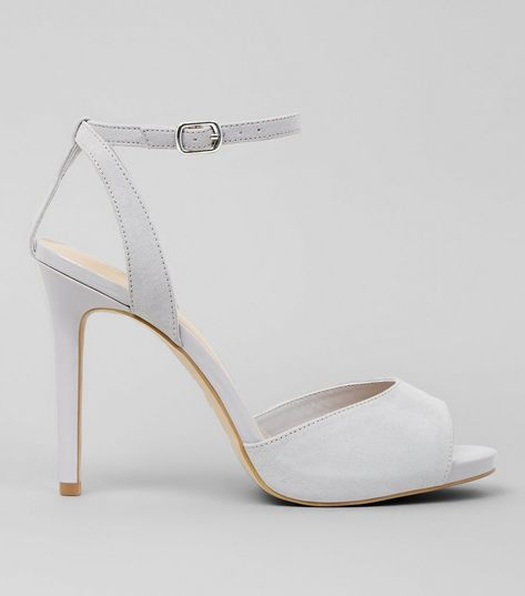 Wide Fit Grey Suedette Ankle Strap Heels | New Look
