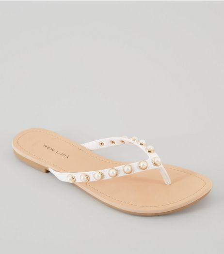 Wide Fit White Pearl Stud Flip Flops | New Look