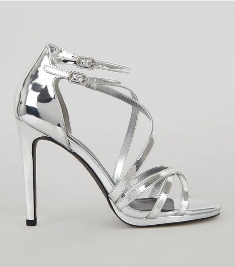 Silver Multi Strap Cross Front Heeled Sandals | New Look