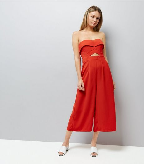 Red Cut Out Front Culotte Jumpsuit | New Look