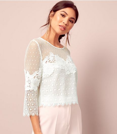 White Spot Mesh Lace Panel Top  | New Look