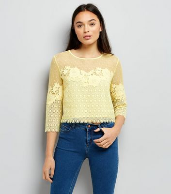 Yellow Spot Mesh Lace Panel Top