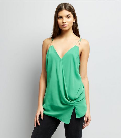 Green Knot Side Wrap Front Cami Top | New Look