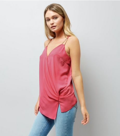 Pink Knot Side Wrap Front Cami Top | New Look
