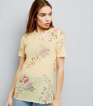 Yellow Mesh Floral Print Boyfriend T-Shirt