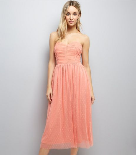 Coral Premium Mesh Bandeau Dress | New Look