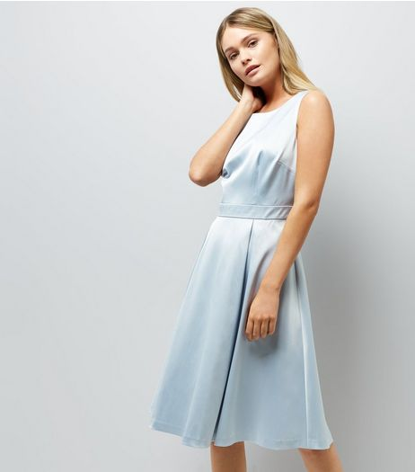 Pale Blue Sateen Midi Prom Dress | New Look