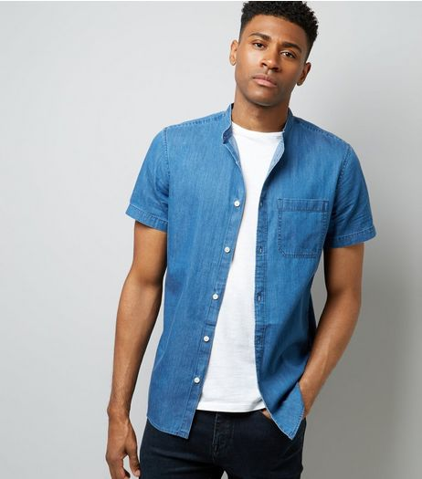 Blue Denim Short Sleeve Shirt | New Look