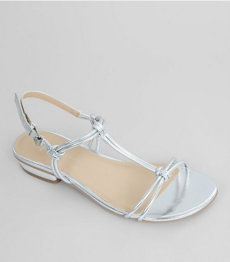 Wide Fit Silver Metallic Knot Front Sandals | New Look