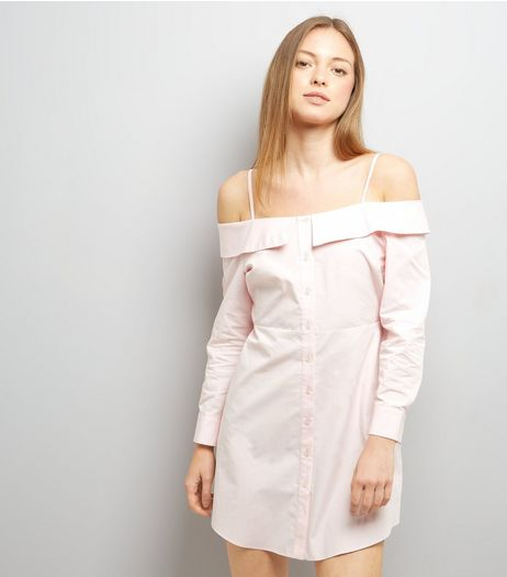 Pink Cold Shoulder Shirt Dress | New Look