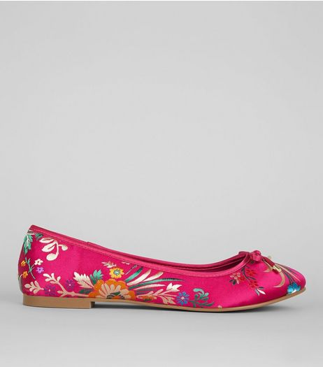 Wide Fit Pink Floral Brocade Pumps | New Look