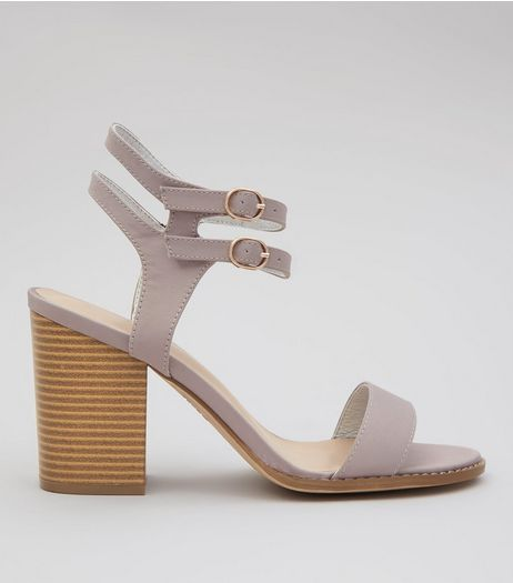 Wide Fit Grey Double Ankle Strap Block Heels | New Look