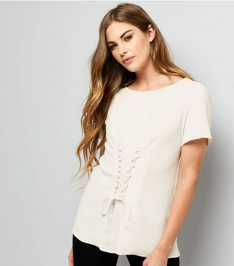 Cream Corset Front T-Shirt | New Look