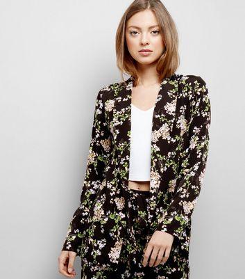 Black Floral Print Textured Jacquard Blazer