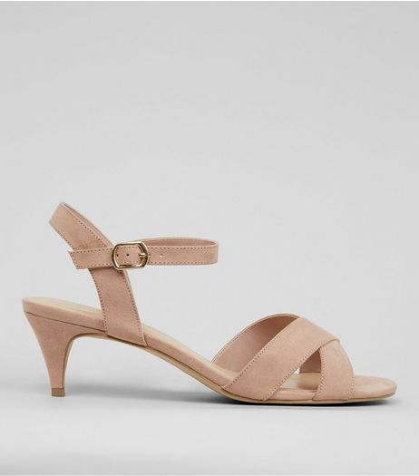 Wide Fit Nude Cross Strap Front Kitten Heels | New Look