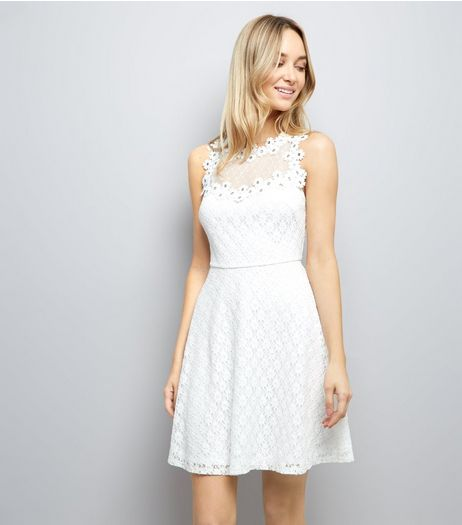 White Lace Embellished Sleeveless Skater Dress | New Look