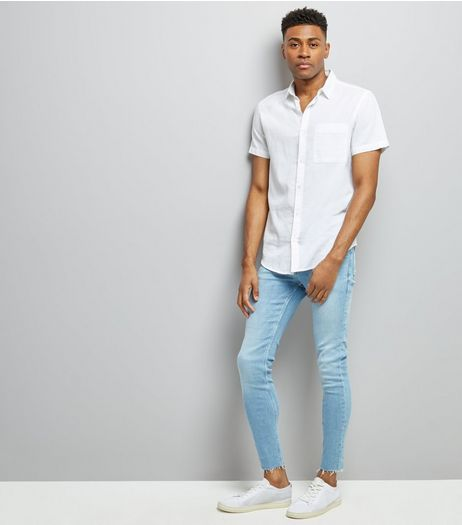 Blue Raw Hem Super Skinny Jeans | New Look