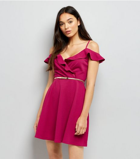 Bright Pink Frill Cold Shoulder Skater Dress | New Look