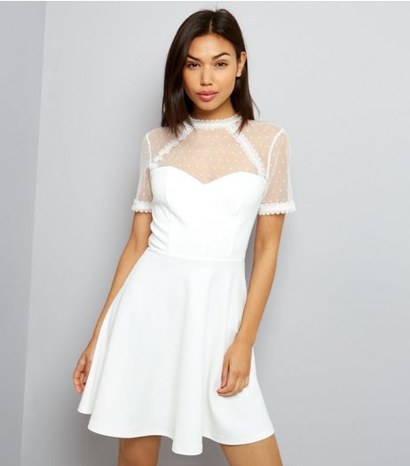 White Lace Trim Spot Mesh Yoke Skater Dress | New Look
