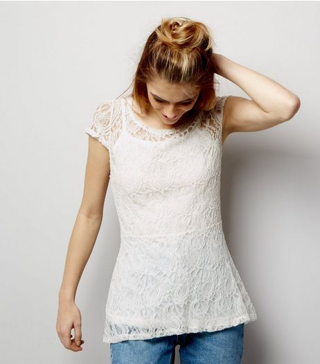 Blue Vanilla White Lace 2 in 1 Peplum Hem Top  | New Look