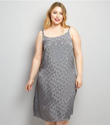 Curves Grey Sateen Floral Jacquard Slip Dress | New Look