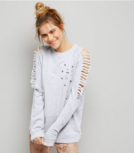 Grey Ladder Ripped Sleeve Studded Sweater  | New Look