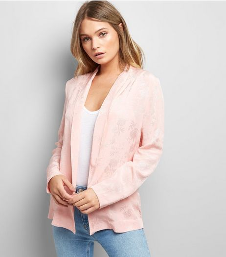 Pink Satin Floral Jacquard Blazer | New Look