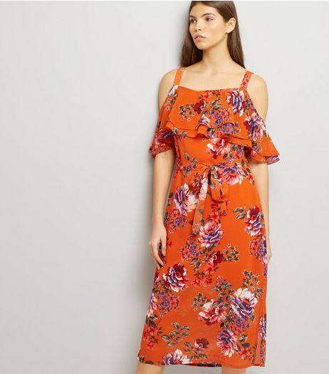 Bright Orange Floral Print Cold Shoulder Midi Dress | New Look
