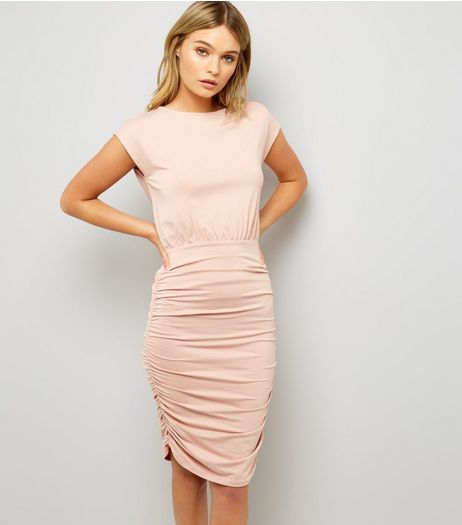 Shell Pink Jersey Ruched Side Bodycon Dress | New Look