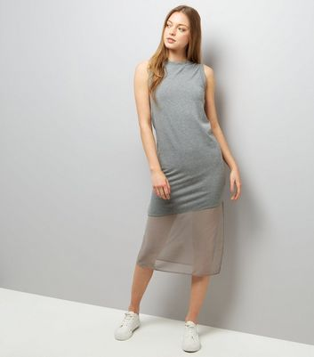 Grey Sleeveless Split Side Midi Dress