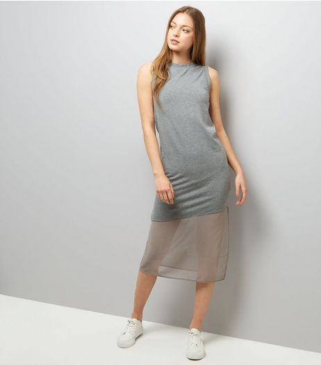 Grey Sleeveless Split Side Midi Dress | New Look