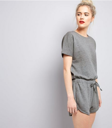 Grey Sweater Tie Waist Playsuit  | New Look