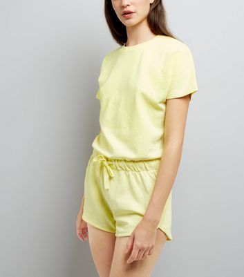 Yellow Tie Waist Sweater Playsuit
